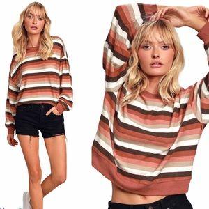 Z Supply Rust Red Multi Stripes Lounge Sweatshirt